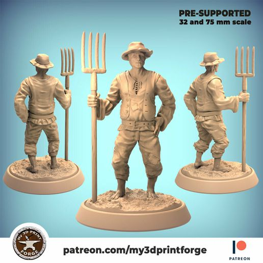 Farmerwitpitchfork-my3dprintforge-main.jpg Download STL file Farmer with pitchfork 32mm and 75mm scale pre-supported • 3D printable template, My3DprintFORGE