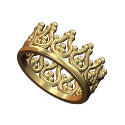 Crown-band-size4to9-00.jpg Download 3MF file Bead crown shaped band US size 4to9 3D print model • 3D printer template, RachidSW