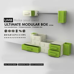 Compre.jpg Download STL file UMB - ULTIMATE MODULAR BOX SYSTEM! More than 30 parametric parts for you customize your storage • 3D print object, R3Designn