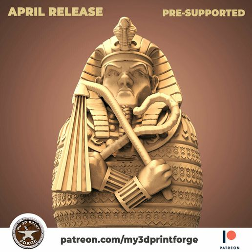 sarcophagus1.jpg Download STL file Egypt Pharaoh Sarcophagus 32mm and 75mm pre-supported • 3D printable model, My3DprintFORGE