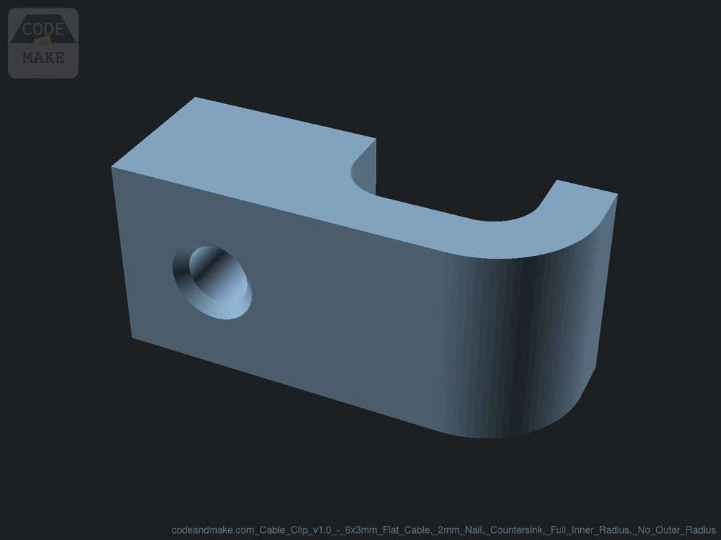 codeandmake.com_Cable_Clip_v1.0_-_6x3mm_Flat_Cable_2mm_Nail_Countersink_Full_Inner_Radius_No_Outer_Radius_logo_cjpeg_dssim-srcw.jpg Download free SCAD file Fully Customizable Cable Clip with Nail Hole • 3D printing object, Code_and_Make