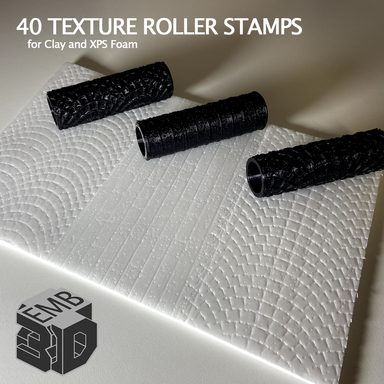 XPS6.png Download STL file 40 Clay and XPS Foam Texture Roller Stamp • 3D printer object, emboyd