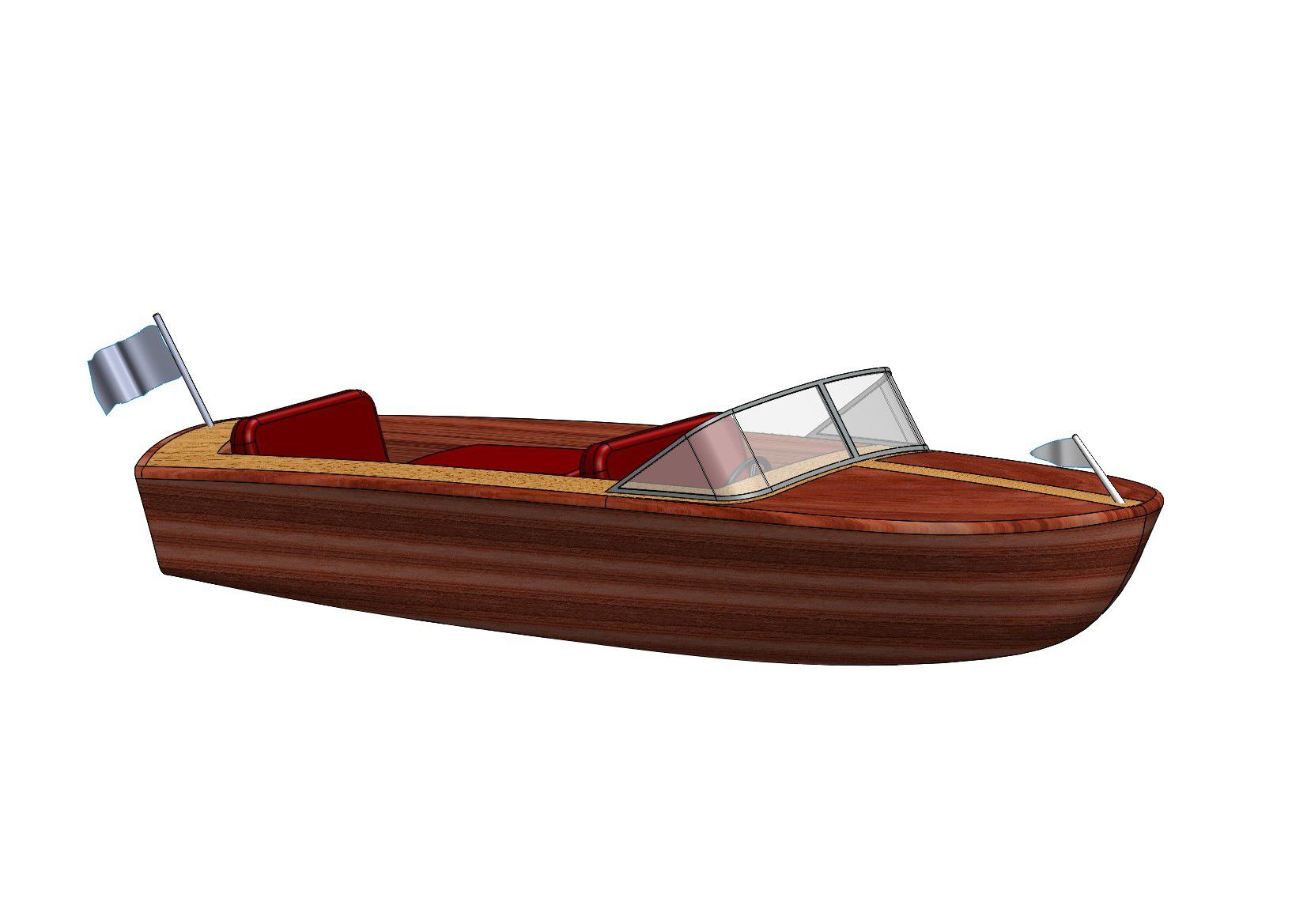 SWPR-ToyBoat B.JPG Download STL file BOAT RIVA TOY BOAT • 3D print template, Laurence