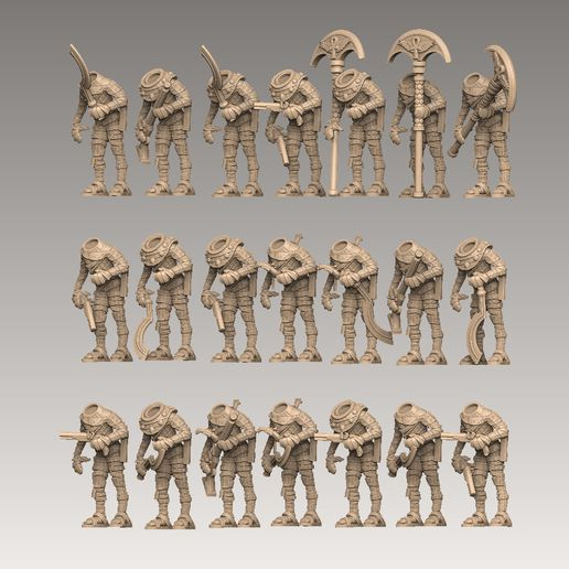 mummy1-lineup-side.jpg Download STL file Mummy Pack 1 • 3D printing object, SharedogMiniatures
