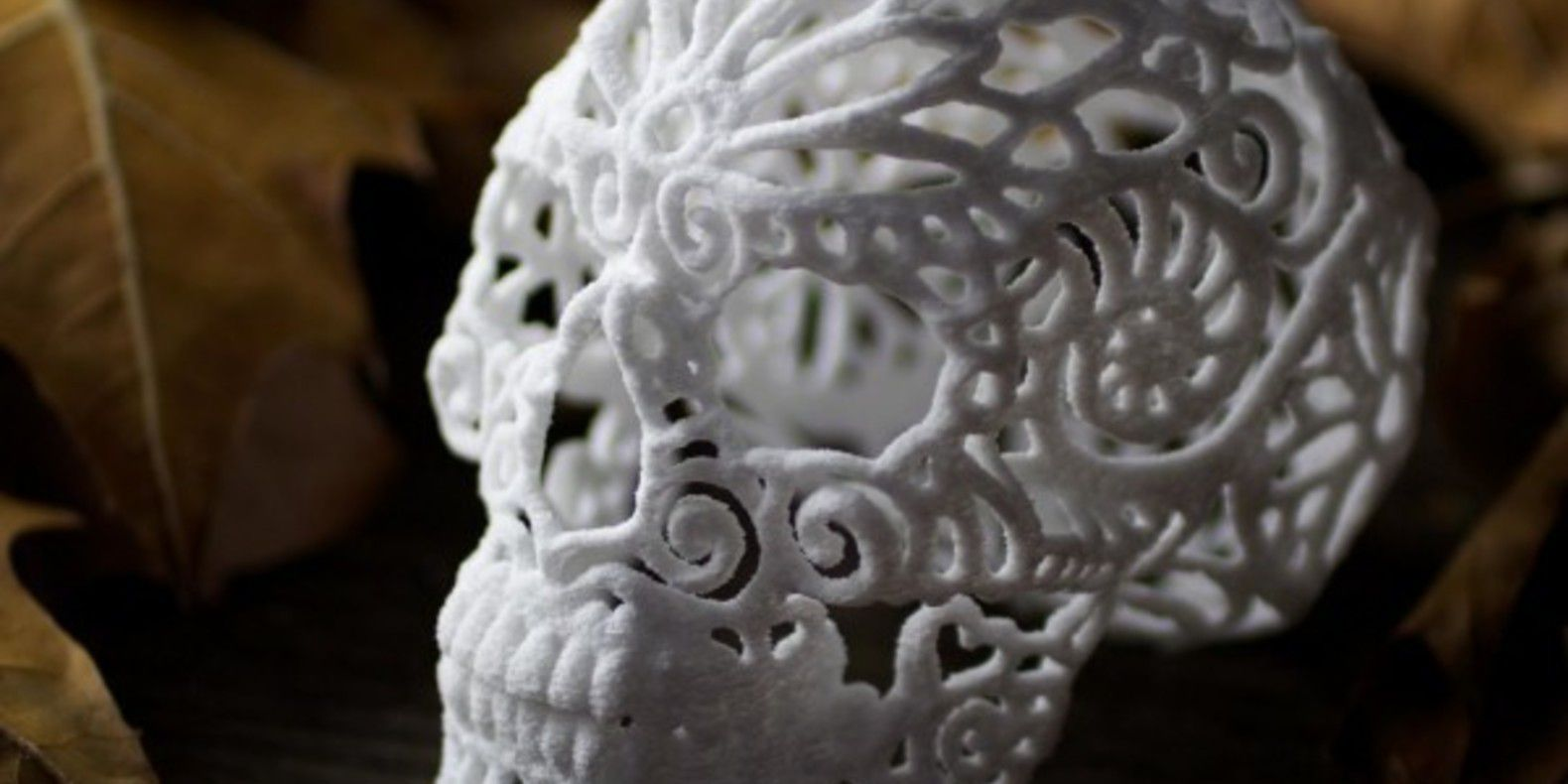 A skull printed in 3D and sugar