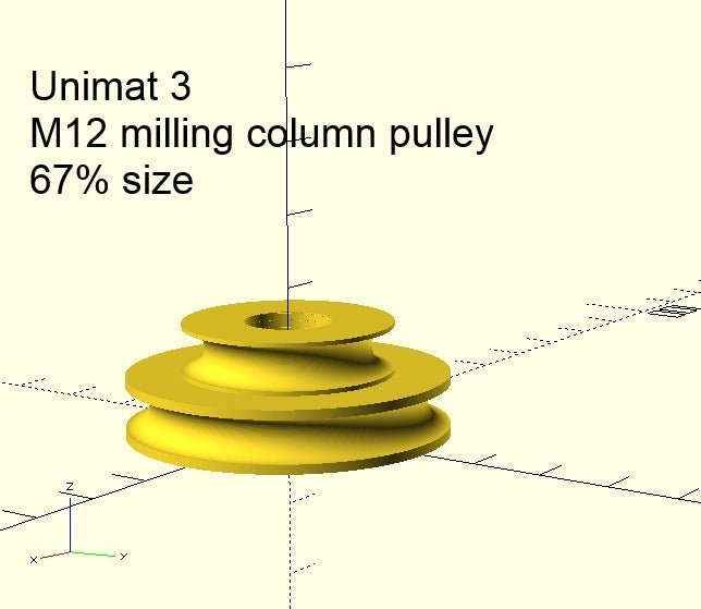 U3_M12_67pct_render.png Download free SCAD file Emco Unimat 3 low and high speed pulley set • 3D printer design, 1944GPW