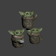 2tres yodas.png Download STL file baby yoda for 3 • 3D printing object, Aslan3d