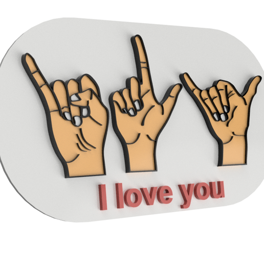 llavero1.1.png Download free STL file I love you in sign language • 3D printing template, Jonathan_1990