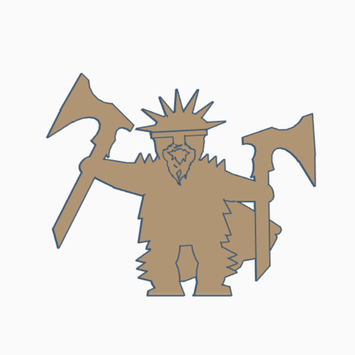 Dwarf Warrior Double Axes.png Download STL file Dwarf Warrior Meeple Pack • Design to 3D print, Ellie_Valkyrie