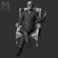 001.png Download STL file Sigmund Freud full body • 3D printable object, MarianoReySculptures