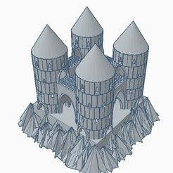 4tower rockcastle1.jpg Download STL file 4tower rock castle • Model to 3D print, GalacticCreator